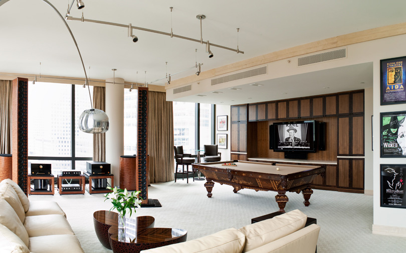 MUSIC-BILLIARDS ROOM, MANHATTAN HIGH-RISE APARTMENT, NEW YORK, NEW YORK
